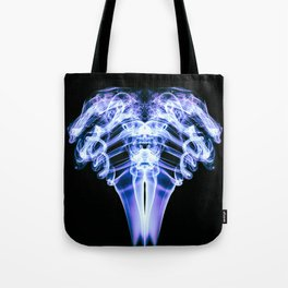 Smoke Ram-Purple and White on Black Tote Bag