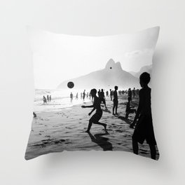 Beach Soccer at Ipanema Throw Pillow