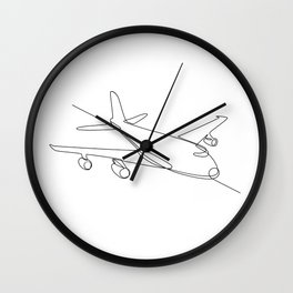 Jumbo Jet Plane Airliner Continuous Line Wall Clock