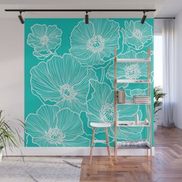 Turquoise Poppies Drawing Wall Mural