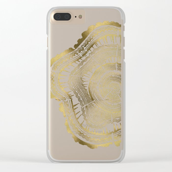 Gold Tree Rings Clear iPhone Case