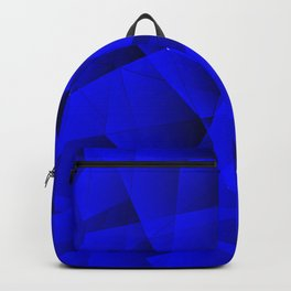 Repetitive overlapping sheets of gloomy blue paper triangles. Backpack