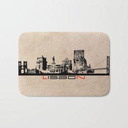 Lisbon skyline city elegant Bath Mat