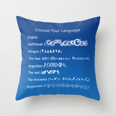 Choose Your Language Throw Pillow
