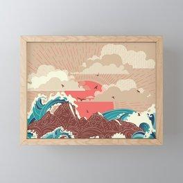 Stylized big waves of ocean or sea at sunset landscape Framed Mini Art Print