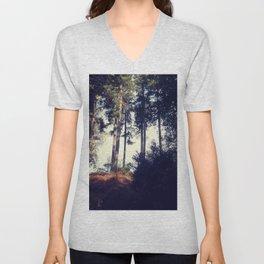 Woodland pine trees. Unisex V-Neck