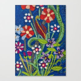 Cozy Felted Wool Flower Garden Canvas Print