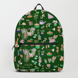 Vintage Garden on Forest Green Backpack