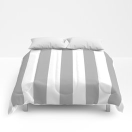 Silver chalice grey - solid color - white vertical lines pattern Comforters