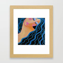 Shiny Black Hair Abstract Digital Painting Framed Art Print