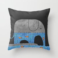 whimsical Throw Pillows featuring Thirsty Elephant  by Terry Fan