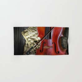 Cello with Bow a Stringed Instrument with Classical Sheet Music Hand & Bath Towel