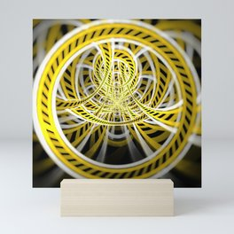 Yellow Tape Roller Coaster Ride on Fractal Rails Mini Art Print