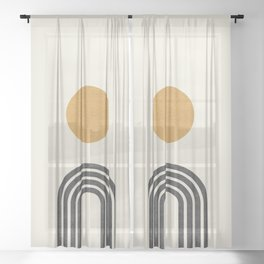 Mid century modern gold Sheer Curtain