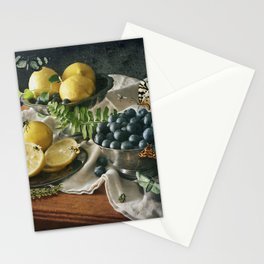 Still Life with Blueberries and Lemons Stationery Cards