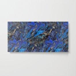 Precious Lapis Lazuli Stone Mineral Blue Gold Metal Print