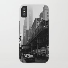 El on a Foggy Day Chicago Black and White Photo iPhone Case