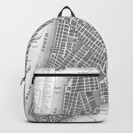 Vintage Map of Lower New York City (1807) BW Backpack