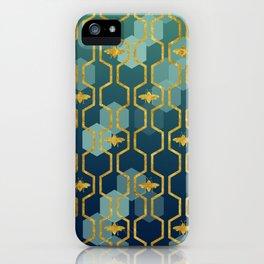 golden gometric bee pattern iPhone Case
