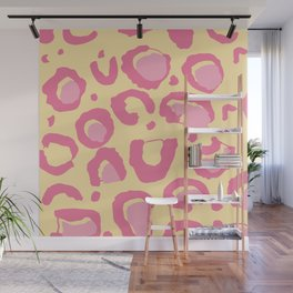 Leopard Skin Inspire Pattern Yellow and Pink Wall Mural