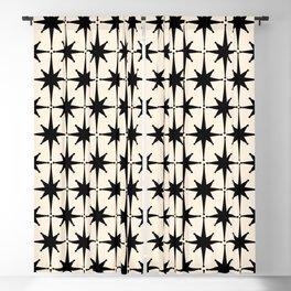 Midcentury Modern Atomic Age Starburst Pattern in Black and Almond Cream Blackout Curtain