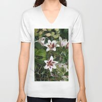 lily V-neck T-shirts featuring Lily by VAWART