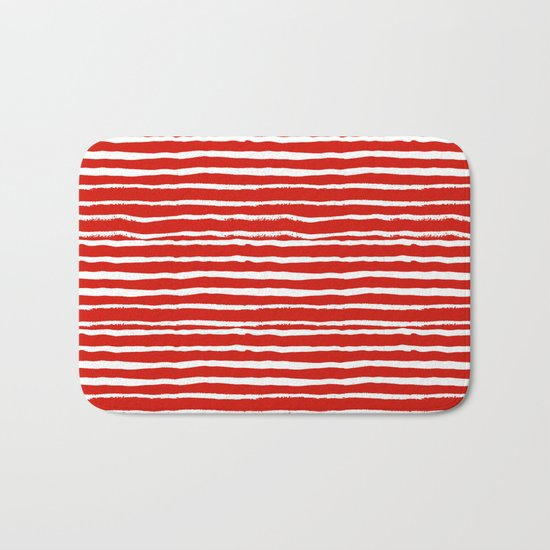 Minimal Christmas red and white holiday pattern stripes candy cane stripe pattern Bath Mat