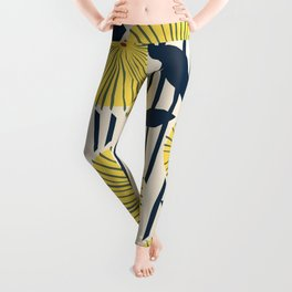 vintage, retro yellow, red and navy flower pattern Leggings