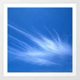 Ivory Strands of Clouds in Bright Blue Sky Art Print