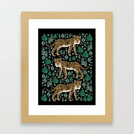 Tigers linocut tiger jungle orange green botanical nature art print Framed Art Print