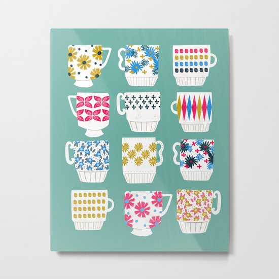 Vintage Teacups - Mid Century, Retro Teacups in pop colors by Andrea Lauren Metal Print