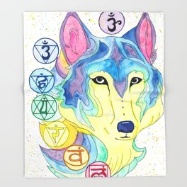 Chakra Wolf Throw Blanket
