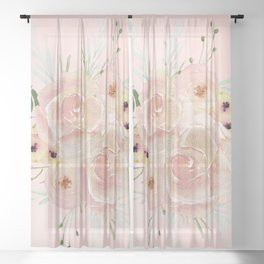 Wild Roses on Seashell Pink Watercolor Sheer Curtain