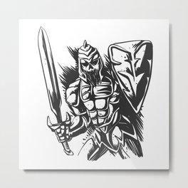 Skeleton knight illustration Metal Print