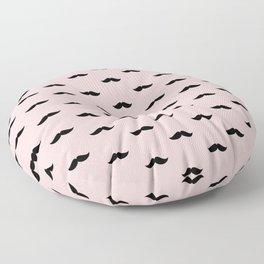 Black Mustache pattern on pastel pink background Floor Pillow