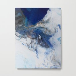 Abstract blue marble Metal Print