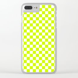 Small Checkered - White and Fluorescent Yellow Clear iPhone Case