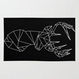 Geometric Stag (White on Black) Rug