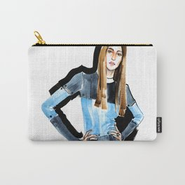 Fashion #16. Long-haired girl in fashionable dress-transformer Carry-All Pouch