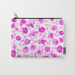 Neon Pink Florals // Hand Painted Watercolors // Neon Roses and Leaves Carry-All Pouch