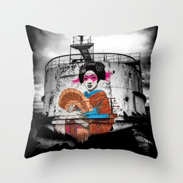 Geisha Graffiti Throw Pillow
