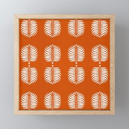 TROPICAL PALMS . ORANGE + WHITE Framed Mini Art Print