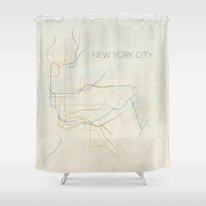 Ny Subway Map Shower Curtain.Minimal New York City Subway Map Shower Curtain By Chrisnapolitano