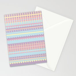PPASTELL - Pastel, Pink, Lilac, Stripes, Nursery, Baby, Blue Stationery Cards