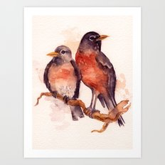 Two Robins Art Print
