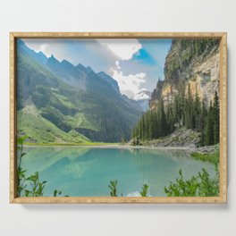 Digital Painting of a Less Popular Side of Lake Louise in Banff National Park, Alberta Serving Tray