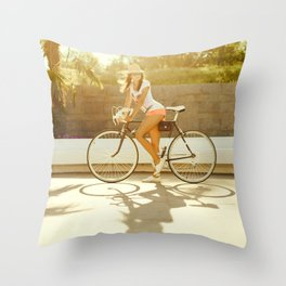 Velo girl Throw Pillow