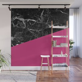 Black Marble and Pink Yarrow Color Wall Mural