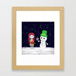 Snowman Jack and Sally with Poinsettia Framed Art Print