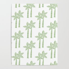 Palm Tree Pattern Nile Green 3 Poster